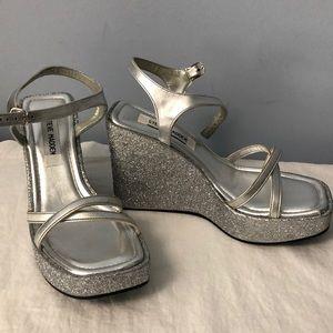 Steve Madden silver glitter wedge heel sandals 8